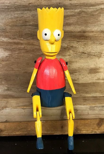 Bart Simpson Cartoon Hand Carved Wooden Puppet Ornament 25 cm